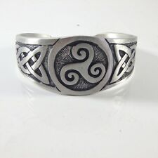 Triskele Swirl and Celtic Knot Silver Pewter Bracelet Bangle Wristband Cuff New
