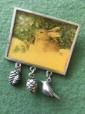 Marjolein Bastin Bunny Rabbit Pin Brooch W/Bird Pinecone Charms By Hallmark