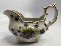 Lefton China Hand Painted Creamer Gold Trim Purple Flowers