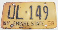 1958 NEW YORK LICENSE PLATE IMPALA CORVETTE THUNDERBIRD FURY FAIRLANE