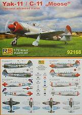 Jak-11 Moose (Yak-11), 1:72, Plastic, RS Models, New, Red Stars on Airshow'