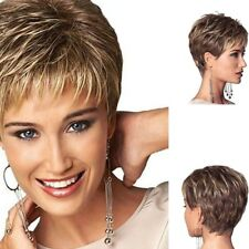 Vogue Womens Fashion Short Wavy Mixed Blond Brown Natural Curly Hair Full Wigs X