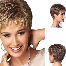 Neu Damen Perücke Natürlich Dunkelblond Braun Mode Kurz Wig Haar Peluca Parrucca