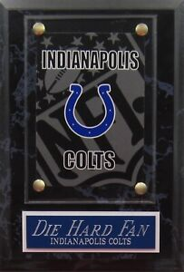 DIE HARD FAN INDIANAPOLIS COLTS LOGO CARD PLAQUE FOR YOUR MAN CAVE WALL DECOR