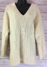 Saks Fifth Avenue Lambswool Angora Cable Knit  Ivory Sweater Size  Med