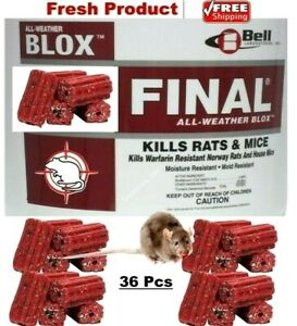 36 Pcs Final BLOX Professional Mouse, Mice, Field Rat ALL WEATHER Rodenticide