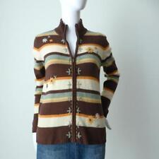 DAVID JONES Zip Front Long Sleeve Lambswool Retro Cardigan Size Small