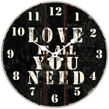 *LOVE IS ALL YOU NEED * Round Wall Clock, Rustic Style, birthday, Gift, 34cm