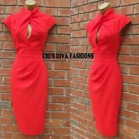EX ASOS NEW SEASON Twist Neck Keyhole Pencil Midi Occasion Dress Sizes  UK 8-12