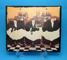 "Handpainted Slate Plaque / Wall Hanging - Waiters - 11.5"" - Jennifer Garant"