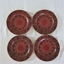New listing 4 Pier 1 Matira Salad Dessert Plates Red Gold Dot Scrolls