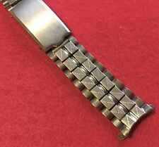 Rare Long beads and brick link steel 17.3mm vintage watch bracelet 1960s/70s NOS