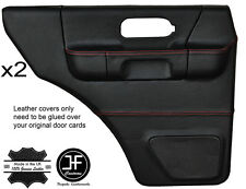 RED STITCH 2X REAR FULL DOOR CARD LTHR COVERS FITS LAND ROVER DISCOVERY 96-04