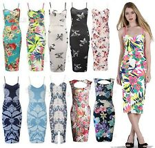 New Womens Ladies Celeb Floral Tropical Rose Print Cami Slit Midi Bodycon Dress