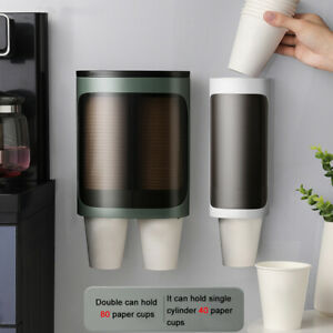 Cup Dispenser Disposable Container Wall Mounted Kitchen Pull Type Storage Rack