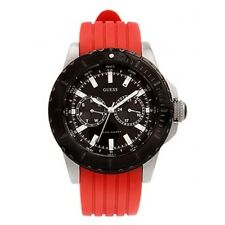 New Authentic GUESS Men red silicon Black Multifunction Sport Watch U12531g5 NWT