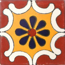 #C017) Mexican Tile sample Ceramic Handmade 4x4 inch, GET MANY AS YOU NEED !!