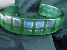 VTG BOHEMIAN ART PEACOCK EYE FUSED GLASS CUFF BRACELET SIGNED JAYNE PERSICO #756