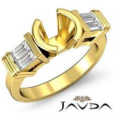 Diamond 3 Stone Engagement Bezel Ring Baguette Round Mount 14k Yellow Gold 0.4Ct