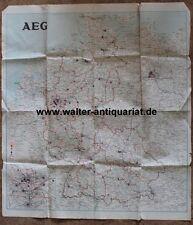 Große farbige Landkarte AEG 1957 Hauptbüros Fabriken map carte mappa kaart