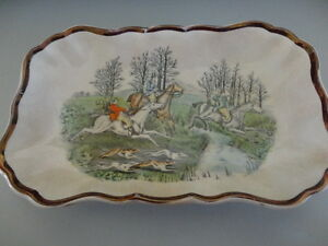 Vintage Gray's Pottery Serving Dish A8834 Hunting design