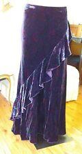 Lauren RALPH LAUREN velvet Skirt XL  maxi plum paisley dark purple ruffle detail