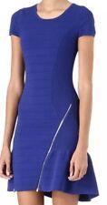 Maje Robe Avec knit body con fit and flare zipper sweater Deca Dress Blue Sz 3