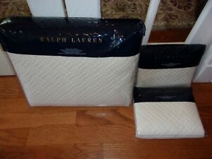NIP Ralph Lauren Greenwich Hollywood Cream Quilted King Coverlet & Shams 3pc
