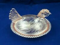 Vintage Indiana Glass Light Pink Hen On Nest Covered Candy Dish