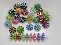 1000 Mixed Colour Sparkling Silver Acrylic Fluted Saucer Spacer Beads 6X3mm