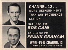 1969 WPRI tv ad~Providence,Rhode Island News BOB CAIN & FRANK GRAHAM~Chanel 12