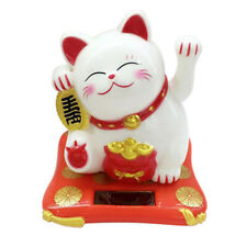 Solar Powered Lucky Cat Waving Paw Figurine Fortune Toy Home Decor White