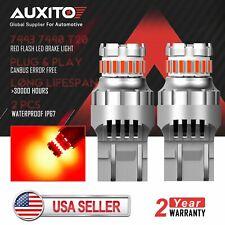 AUXITO T20 7440 7443 Red LED Strobe Flash Blinking Brake Tail Light Bulb 2PCS