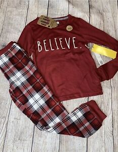 Rae Dunn 5 6 8 10 12 14 Believe Holiday Matching Family Christmas Pajama NEW Red