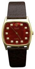 Vintage ROLEX GENEVE Cellini Swiss 18K Gold Wind Movement Red Diamond Dial Watch