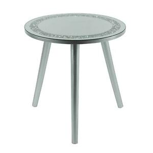 Mirrored Glass Round Side End Coffee Table Multicrystals Silver Grey – UK Seller
