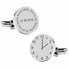the Walks.Groom Wedding Time Cufflinks Personalised Silver Plated Of All