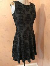 Joe Browns Dress 8 Black  Grey Skater Flock Velvet Little Black Dress VGC