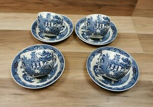 4 x Vintage Wedgwood Willow Pattern Cups & Saucers