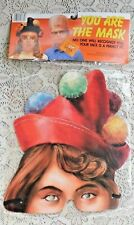VINTAGE 1980's HALLOWEEN YOU ARE THE MASK BY TONY MIP FEMALE FANCY CLOWN
