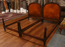 Gorgeous Hand Carved French Louis XVI Walnut Twin Single Beds MINT 1920s Era