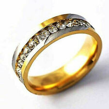 Band Rings Wedding Ring Size 10 Fashion Jewelry 2Tone Around Crystal Womens Mens