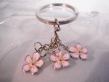 Sakura Cherry Blossom Keyring Chrome Metal Keychain Gift Boxed BRAND NEW