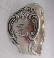 """MONOGRAMED ANTIQUE STERLING SILVER SPOON RING, SIZE """"T""""    #28"""
