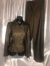 nwot Peggy Jennings sz 4 Double Breasted Jacket Blazer Pants Suit 24x33 Blk Gold