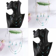 Gift Pendant Necklace Round Turquoise Dangle Earrings Bridal Jewelry Sets