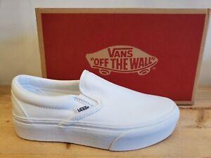 Vans Classic Slip-On Platform Mono White Skateboarding Shoes for Women