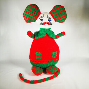 Vintage Hand Knit Creepy Christmas Mouse Plush Ivy Ondrej Large 22 Inch