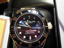 Stührling Original Men's Dive Watch NEW  Tags Gold Silver Band Blue Dial SALE