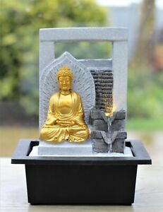 Garden Ornament Fountain Buddha Zen Indoor Table Top  Water Feature LED Lights